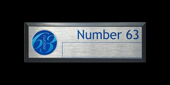 Number 63 name badge
