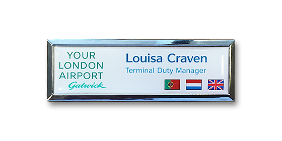 B3 lightweight injection moulded namebadge silver frame flag badges by Fattorini - 75 x 25mm