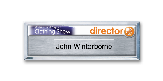 B3 lightweight injection moulded namebadge silver frame by Fattorini - 75 x 25mm