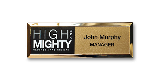 B32 lightweight injection moulded namebadge gold frame for retail by Fattorini - 75 x 25mm