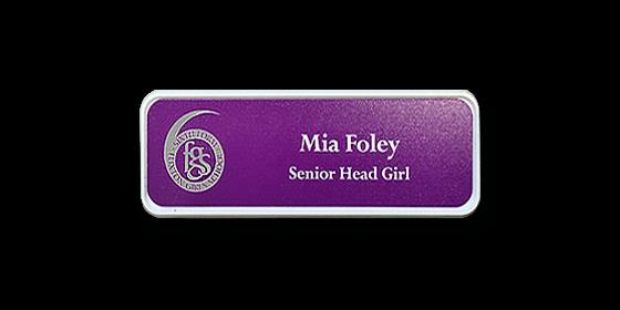 H1 robust white frame purple metallic insert name badge by Fattorini 57 x 21mm