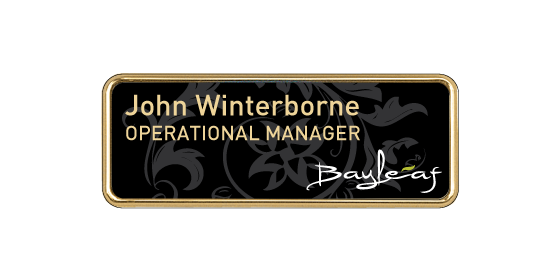 H12 robust gold plated frame name badge by Fattorini 57 x 21mm