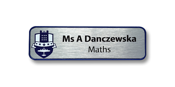 H2 robust chrome plated frame name badge with a brushed silver panel by Fattorini 70 x 20mm