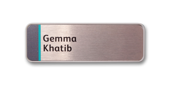 H1 robust grey frame name badge by Fattorini 57 x 21mm