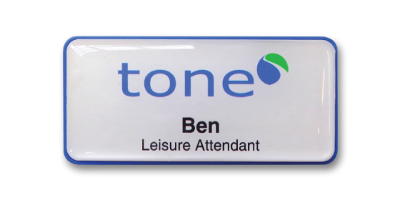 H45 robust blue frame namebadge dome printed by Fattorini 75 x 35mm