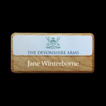 Wood effect name badge