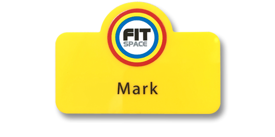 special shape slim yellow moulded badge