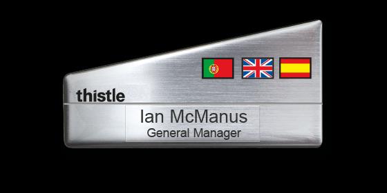 PX3 silver plastic panel name badge by Fattorini bespoke shape