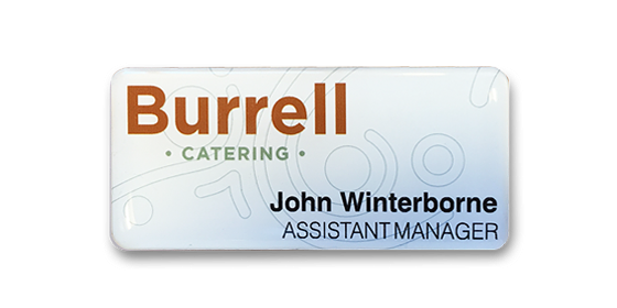 SL4 panel name badge printed and domed 73x33mm
