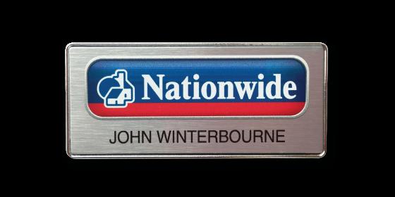 R43 elegant chrome plated slim frame name badge by Fattorini 75 x 35mm