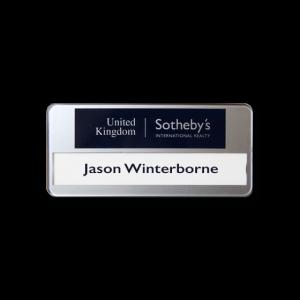 SL40 slim-line re-usable reverse printed white name badge by Fattorini 72 x 33mm