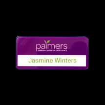 SL462 slim-line re-usable reverse printed purple name badge by Fattorini 72 x 33mm