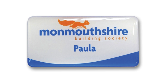 SL4 slim white plastic name badge by Fattorini printed solid colour & UV domed 72 x 33mm