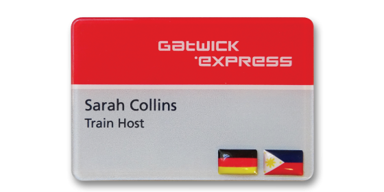 SL6 slim white plastic name badge by Fattorini 67 x 45mm reverse printed