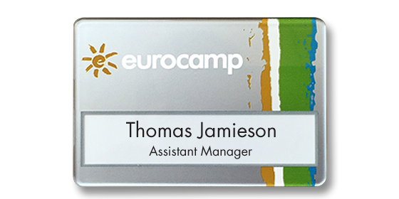 SL6 slim-line re-usable reverse printed name badge by Fattorini 67 x 45mm