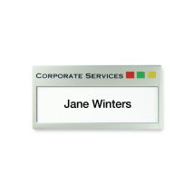 U63 reusable window white, durface foiled in matt silver name badge by Fattorini 69 x 35mm