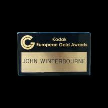 U80 reusable window black name badge by Fattorini 70 x 41mm