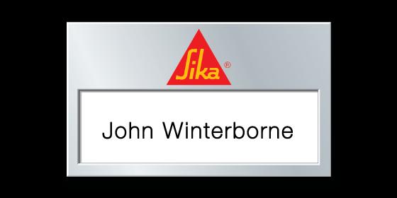 U83 reusable window white, surface foiled matt silver name badge by Fattorini 70 x 41mm