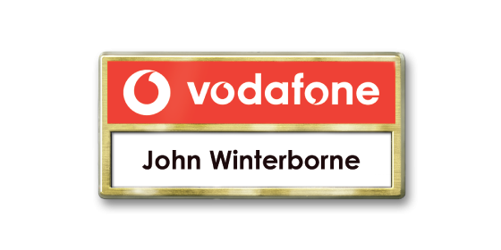 V4 Versatile self nameing practical gold foiled face name badge by Fattorini 77 x 37mm