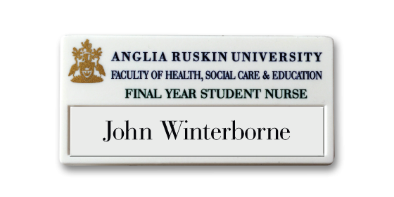 V40 re-usable injection moulded name badge by Fattorini - 77 x 37mm Laser paper supplied as standard